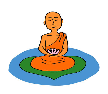 Buddhist monk with a lotus in his hands meditates on the lake. Vector illustration.