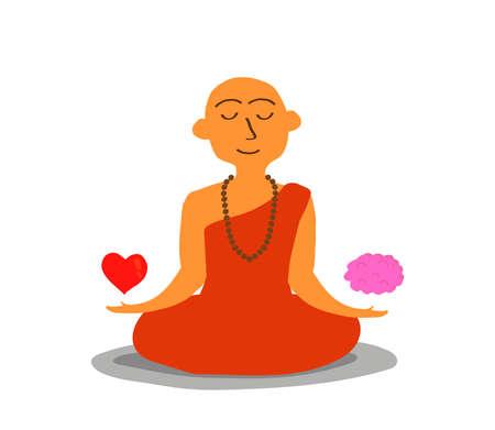 Buddhist monk balances between heart and brain. Vector illustration.