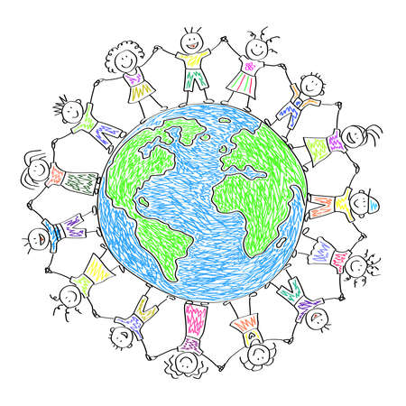 Happy kids around planet earth. Children's drawing. Vector illustration.  イラスト・ベクター素材