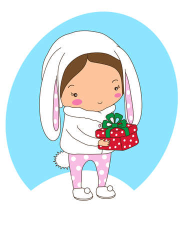 Baby girl in a hare costume holds a gift on a blue background. Illustration.