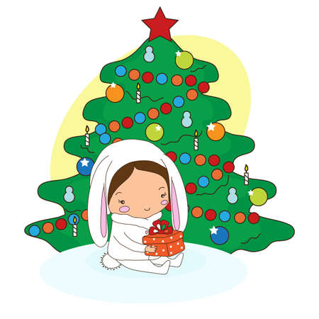 A child holds a gift on the background of a Christmas tree. Christmas Illustration. Фото со стока