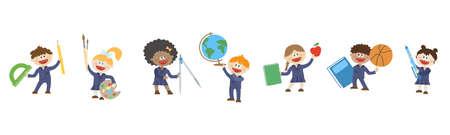 Happy children hold various school subjects. Illustration. 写真素材