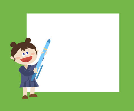 Girl with a big sheet of paper and a pen. Illustration. Banco de Imagens