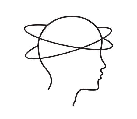 Head silhouette and dizziness. Vector illustration. 向量圖像