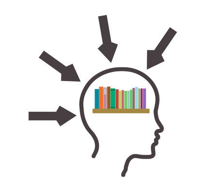 Silhouette of a head and a book on a white background. Vector illustration.
