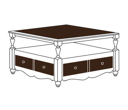 Low table on a white background. Illustration.