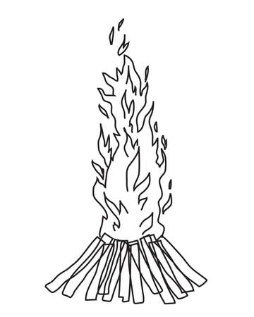 Bonfire on a white background. Sketch illustration.