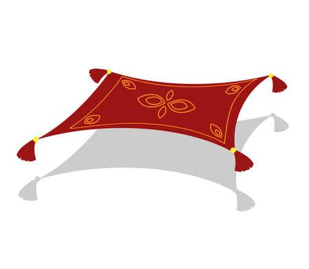 Alfombra voladora sobre un fondo blanco. Ilustración de vector.