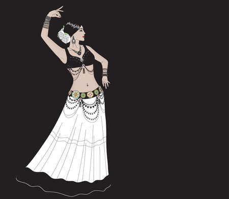 A woman in jewelry and a white skirt performs a dance. Dance Tribal. Illustration. Standard-Bild - 132778485
