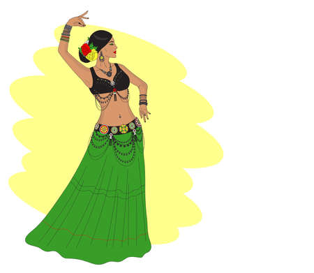 A woman in jewelry and a green skirt performs a dance. Dance Tribal. Illustration. Standard-Bild - 132778484
