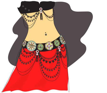 A woman in jewelry performs a dance. Dance Tribal. Illustration. Standard-Bild - 132778493