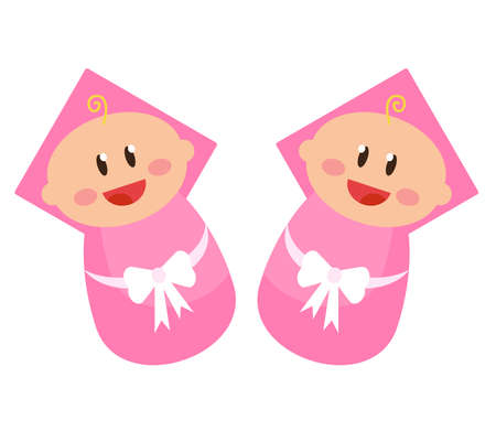 Little girls twins on a white background. Vector illustration.