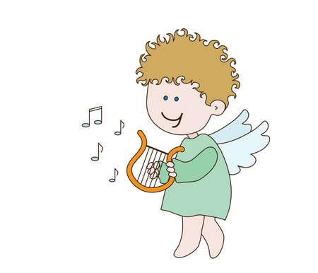 Little angel plays the harp. Vector illustration.