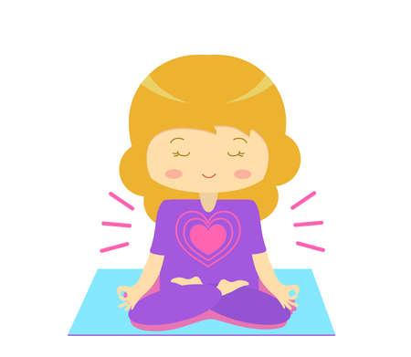 Lovely girl is engaged in meditation. Illustration.