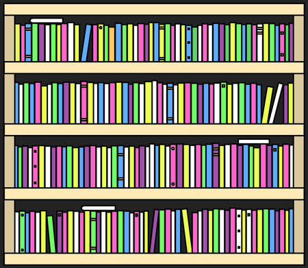 Collection of various books on a shelf. Bookcase Vector illustration.