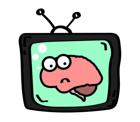 The brain in the TV on a white background. Cartoon. Vector illustration.