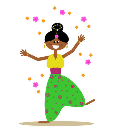 Girl in wide pants rejoices on a white background. Vector illustration. Vectores