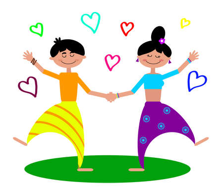 The guy and the girl are doing yoga on a white background. Vector illustration.