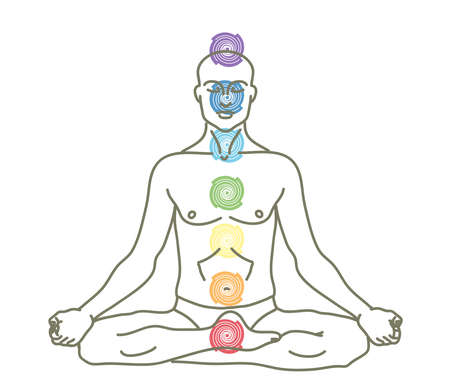 A man is meditating on a white background. Chakras. Vector illustration. Vector Illustration