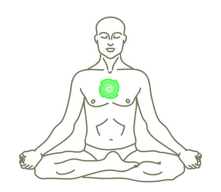 A man is meditating on a white background. Anahata. Chakras. Vector illustration.