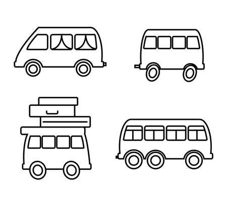 Bus on a white background. Collection. Silhouette. Vector illustration. Banque d'images - 137765437