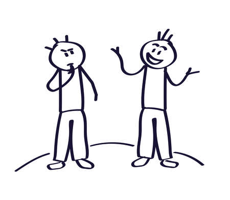 Two people are talking on a white background. Vector illustration.