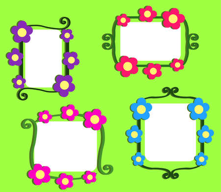 Floral frame on a green background. Collection. Vector illustration. Stock Illustratie