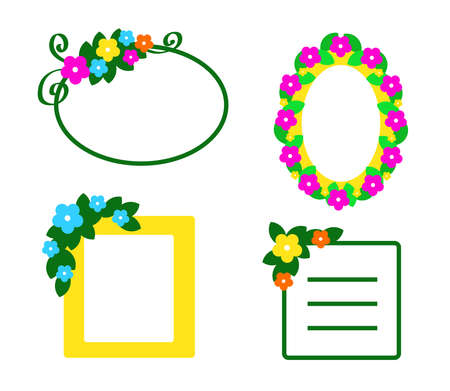 Frames with flowers on a white background. Vector illustration. Stock Illustratie