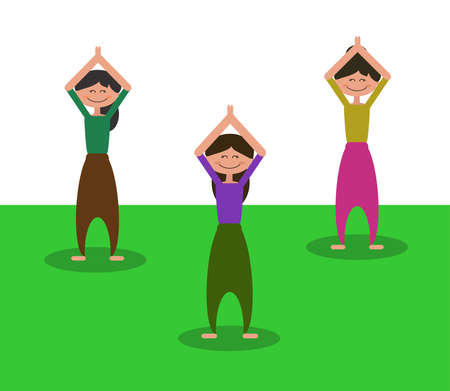 People practice. Group yoga class. Vector illustration.