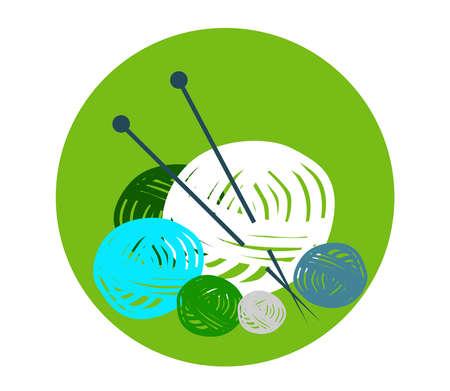 Knitting on a green background. Cartoon. Vector illustration. Illusztráció