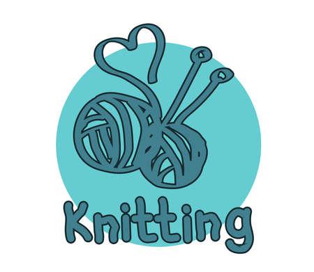 Knitting on a blue background. Symbol. Vector illustration. Illusztráció