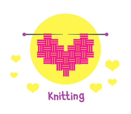 Knitting in the shape of a heart. Symbol. Vector illustration. Stock fotó - 138104039