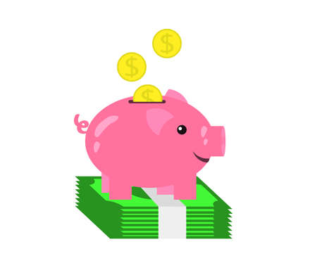 Piggy bank and money on a white background. Symbol. Vector illustration.  イラスト・ベクター素材