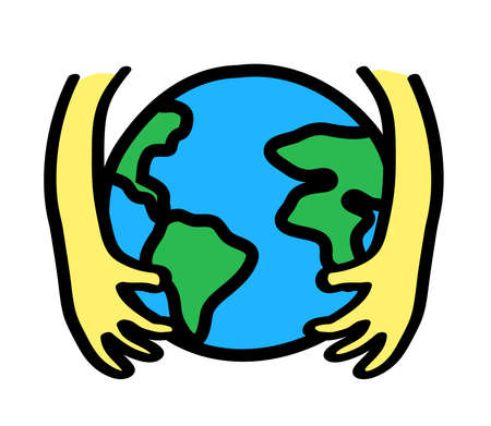 Hands and planet Earth and planet on a white background. Environmental protection. Vector illustration.