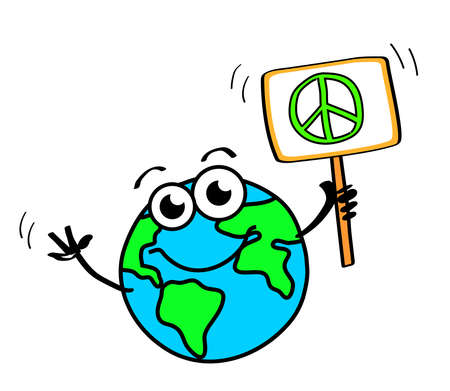 Planet earth with a tablet on a white background. Vector illustration. Ilustrace