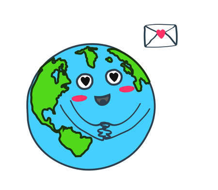 Planet earth and letter on a white background. Vector illustration.