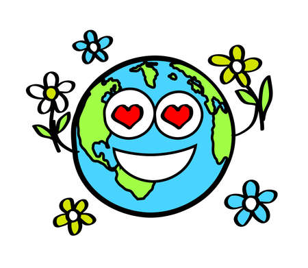 Planet earth and flowers on a white background. Vector illustration.