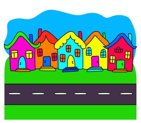 Bright houses and the road on the background. Cartoon. Vector illustration.
