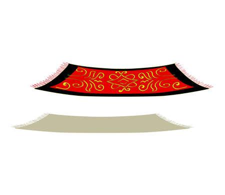 Flying carpet on a white background. Cartoon. Vector illustration.