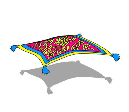 Magic carpet on a white background. An object. Vector illustration.