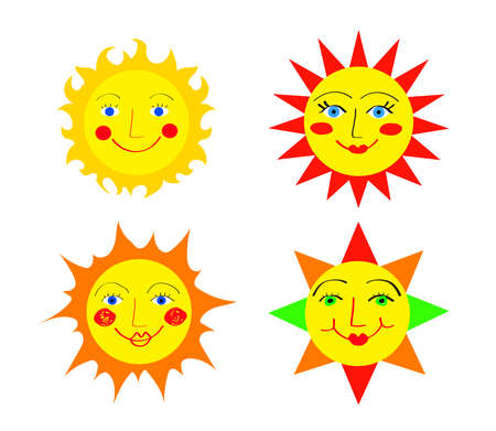 Merry sun on a white background. Collection. Vector illustration.
