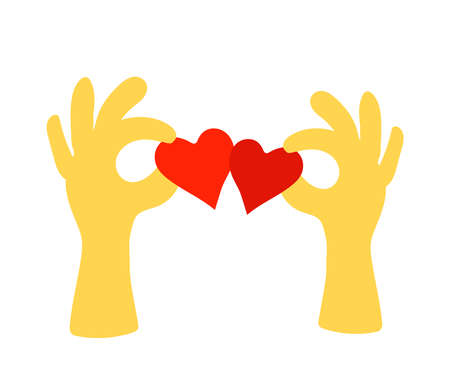 Hands of people and red hearts on a white background. Vector illustration.