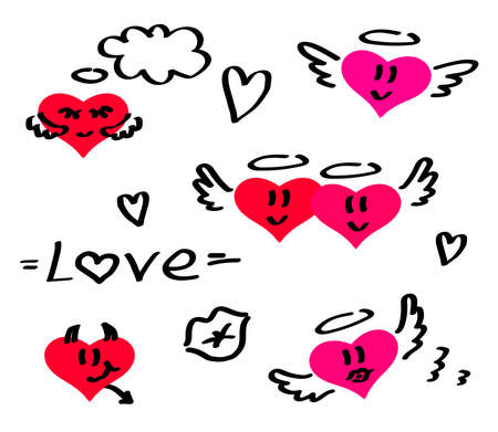 Different hearts on a white background. Vector illustration.