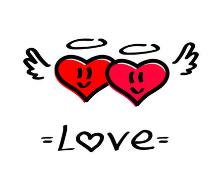 Two cute hearts on a white background. Vector illustration.
