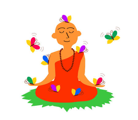Buddhist monk in lotus and butterfly pose. Cartoon. Vector illustration.