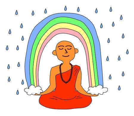 Buddhist monk and rainbow on a white background. Vector illustration.