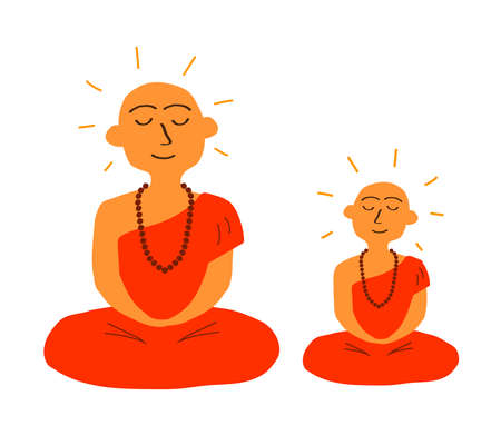 Buddhist monk on a black background. Cartoon. Vector illustration. Illustration