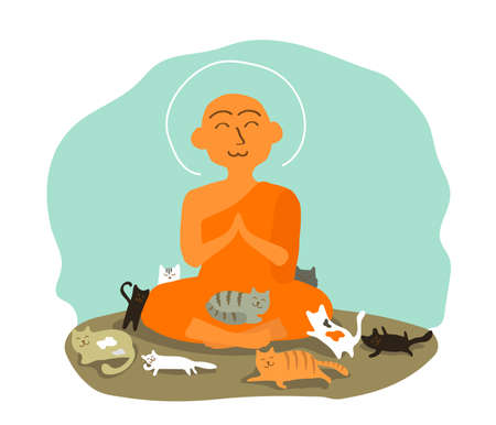 Buddhist monk and cats on a blue background. Vector illustration.