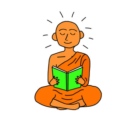 Buddhist monk is reading a book on a white background. Vector illustration. Illustration