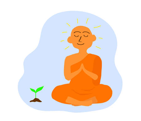 Buddhist monk and plant on a blue background. Vector illustration. Illustration